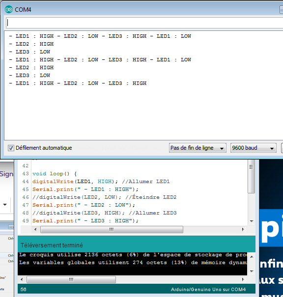Exemple sur la voie Moniteur de l'Arduino